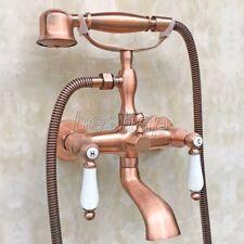 Red Copper Brass Bathtub Faucet Clawfoot Bath Tub Filler Shower Mixer Tap stf806