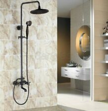 Black Oil Rubbed Brass Shower Faucet Tub Mixer Tap 8-inch Shower Head 8rs381