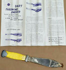 Vintage Yellow Dart Throwing Knife Dagger Made in Japan With Instruction Sheet
