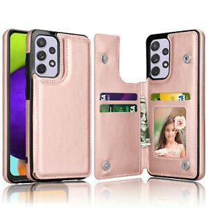 For Samsung Galaxy A52/72 5G Wallet Leather Card Case Cover And Screen Protector