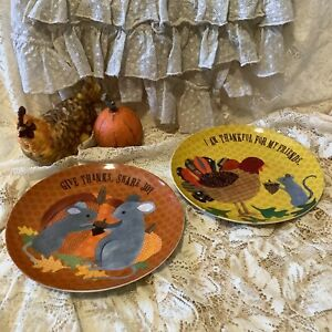 2 Pottery Barn Kids Thanksgiving fall Turkey mouse CERAMIC dinner plates 9x9