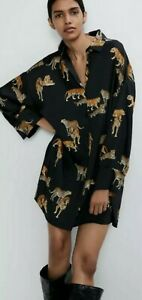 Shein Black Silky Tiger Animal Print Oversized Shirt Dress L 14 16 Brand new Zar