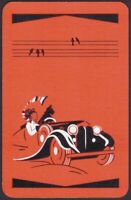 Playing Cards Single Card Old Vintage Art Deco * CAR GIRL DOG + BIRDS Picture A