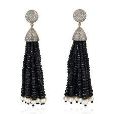 140.25ct Black Spinel Pave Diamond Tassel Earrings Gold Sterling Silver Jewelry