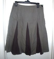 Boden Gray Brown Striped Lined A-Line Skirt Size UK 10R US 4 6