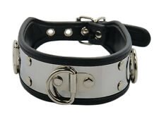 Bondage Edelstahl Halsband mit D-Ring schwarz silber Edelstahlhalsband Nr.1178