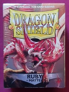 Dragon Shield Standard Card Protector Sleeves RUBY MATTE Sealed 100 Pack MTG