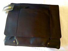 "Solo Padded Leather Laptop Briefcase with File  16"" Brown Durable New"