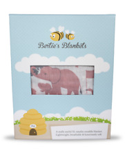 Muslin Swaddle Baby Blanket Bamboo Cotton XL Bertie's Blankets Pink Girl