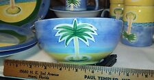 """Baum Bros Style Eyes - Vintage Hand Painted Palm Tree 6-1/4"""" Soup Bowl"""