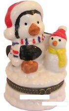 Penguin and Snowman-Porcelain Hinged-Box-Wintertime Friends-Last One!