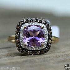 Genuine 3.02ct Purple Amethyst Diamond Topaz Halo Ring 14k Yellow Gold Size 7