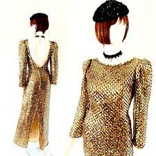 Vtg Late 60's Early 70's Gold Bombshell Wiggle Full Length Vlv Dress Sz S-M