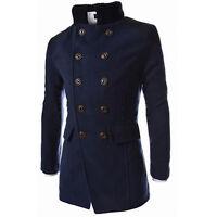New Mens Jacket Warm Winter Trench Long Outwear Coat Slim Casual Smart Overcoat