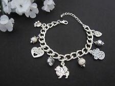 Pomeranian Dog Charm Bracelet with Freshwater Pearls & Swarovski Crystals