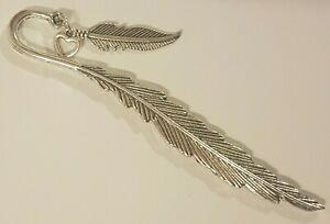 Feather Bookmark -A Feather From An Angel- With Small Feather And Heart Charm