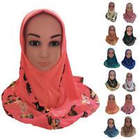 Muslim Kids Girls Scarf Islamic Hijab Arab Headscarf Shawls Headwrap Caps
