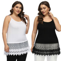 Women's Plus Size Spaghetti Straps Lace Dress Extender Tops Summer Casual Slim