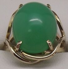 SOLID 9CT YELLOW GOLD CHRYSOPRASE GEMSTONE DRESS RING - VALUE $1721