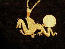 bling gold plated chinese big dragon pendant charm rope chain hip hop necklace