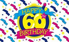 HAPPY 60th BIRTHDAY 5X3 FEET POLYESTER CLOTH FLAG 60 YEARS OLD PARTY CELEBRATION