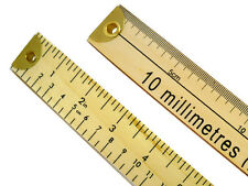 1 x Double Sided Dual Marked Wooden Metre Rule (Brass Ends) R670B