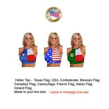 Flag Halter Top Made to bra size USA Flag, Italian, Texas most any flag designs