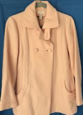 Chico's Size 0 Double Breasted Jacket Light Pink Peach High Collar PeaCoat