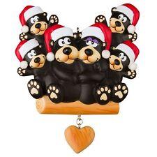 BLACK BEAR Family Of 6 Personalized Christmas Tree Ornament X-mass Noel