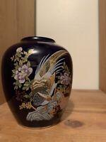 1960's Vintage Cobalt Blue Japanese Satsuma Hand Painted 24k Gold Finish Vase.
