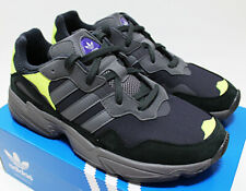 NIB ADIDAS Yung-96 Black Carbon Neon-Green Suede Sz 11 Chunky Low Top Sneakers