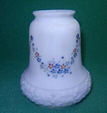 VINTAGE WHITE GLASS LAMP SHADE NICE DESIGN SATIN w/ SUBTLE FLORAL SHINY INSIDE