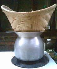 Thai Steamer Pot Sticky Rice Cooker Aluminum & Bamboo Basket Thai Cooking Set