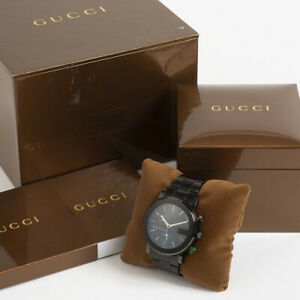 Gucci ref 101M Black Chronograph. Box & Papers. Excellent Condition.