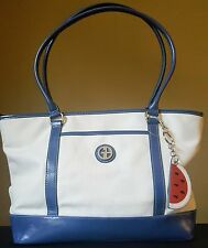 NWT Giani Bernini Canvas Fruit Tote Handbag White/Purple 5 MSRP $130