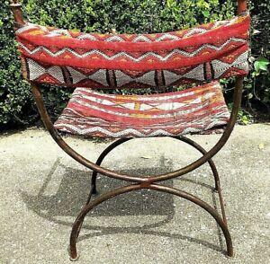 Decorative Steel & Kilim Chair