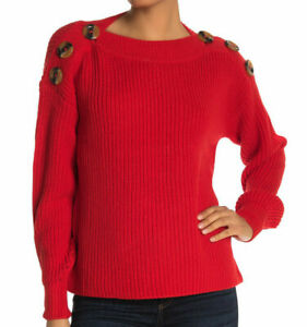 Philosophy Dolman Sweater Top XS Shoulder Buttons Boatneck Red NEW Tag B18