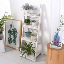 Foldable Ladder Bookshelf Rack 4 Tier Vintage Plant Stand Display Shelf Storage