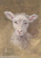 """Soft & Sweet, Wooly Lamb"" Debra Sepos original oil 5x7"" barnyard sheep portrait"