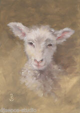"""Soft & Sweet, Wooly Lamb"" Debra Sepos original oil 5x7"" barnyard sheep portrait"