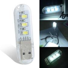 Creative Mini Portable 3 LED Bright USB Night Light Lamp For PC Laptop Reading