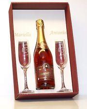 Sektglas Gravur Hochzeitsgläser im Geschenkkarton inkl. Sektflasche Widmung