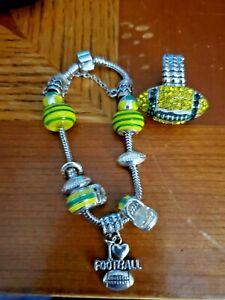 Green&Yellow Rhinestone Football Fashion Ring Stretch Fit.W/ charm Bracelet