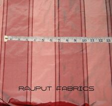 "54"" Wide 100 Silk Taffeta Shantung Fabric Pink Wine Red Stripes (by The Yard)"