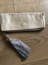 Genuine Vintage Leather Metallic Anya Hindmarch Tassle Clutch Bag