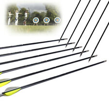12Pcs 26'' Solid Fiberglass Arrow Shaft Sp1200 W/ Field Points For Recurve Bow