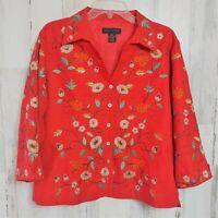 Silkland Women's XL Embroidered Jacket Lightweight Blazer Floral 100% Silk