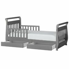 Dream On Me Sleigh Storage Toddler Bed in Storm Grey