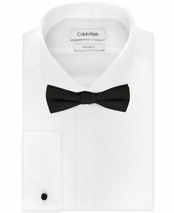 Calvin Klein Mens Dress Shirt Bow Tie White Size 17 1/2 Pre-Tied Solid $96 #356