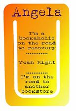 Personalised bookaholic clip bookmark. Ideal gift for the avid reader. Free p+p